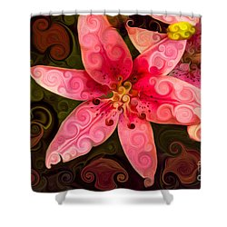 Shower Curtain featuring the painting Pretty In Pink by Omaste Witkowski