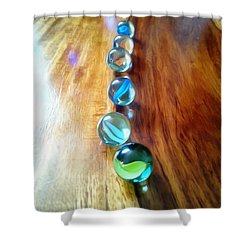 Pretty Marbles All In A Row Shower Curtain