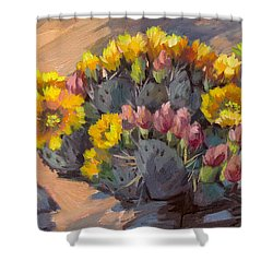 Prickly Pear Cactus In Bloom Shower Curtain by Diane McClary