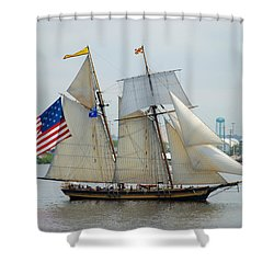 Pride Of Baltimore II Passing By Fort Mchenry Shower Curtain by Mark Dodd