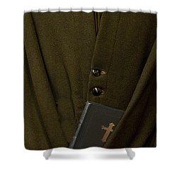 Priest Shower Curtain by Margie Hurwich