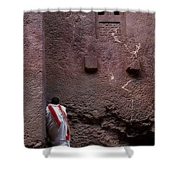 Priest Praying Outside Church In Lalibela Ethiopia Shower Curtain