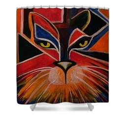 Primary Cat Shower Curtain by Carolyn LeGrand