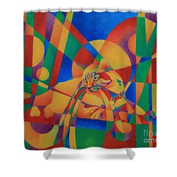 Shower Curtain featuring the painting Primary Cat IIi by Pamela Clements