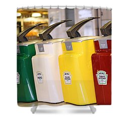 Primary Colors Of Condiments Shower Curtain by Kym Backland