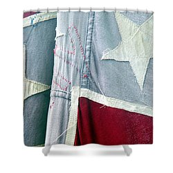 Primitive Flag Shower Curtain by Valerie Reeves