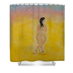Primitive Woman Walking Shower Curtain by Robyn Louisell