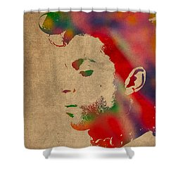 Prince Watercolor Portrait On Worn Distressed Canvas Shower Curtain by Design Turnpike