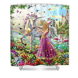 Princess And The Unicorn Shower Curtain by Adrian Chesterman