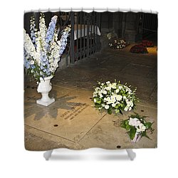 Shower Curtain featuring the photograph Princess Grace Tomb by Allen Sheffield