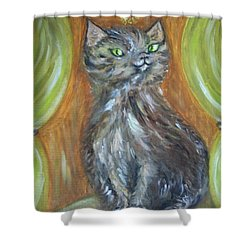 Shower Curtain featuring the painting Princess Kitty by Teresa White