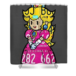 Princess Peach From Mario Brothers Nintendo Recycled License Plate Art Portrait Shower Curtain