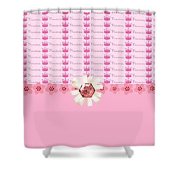 Princess Pink Crowns Shower Curtain by Debra  Miller