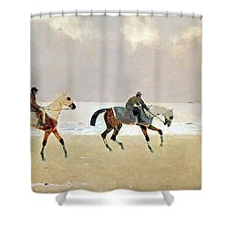 Princeteau's Riders On The Beach At Dieppe Shower Curtain by Cora Wandel