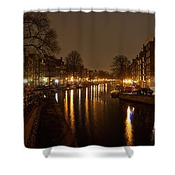 Prinsengracht Canal After Dark Shower Curtain by Jonah  Anderson