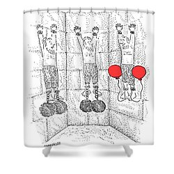 Prisoner In Dungeon Has Orange Balloons Attached Shower Curtain