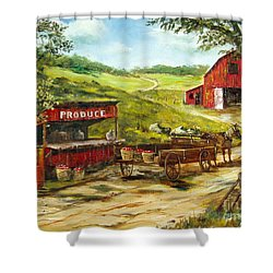 Produce Stand Shower Curtain by Lee Piper