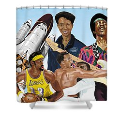 Shower Curtain featuring the digital art Jimi, Muhammad Ali, Wilt Chamberlain And Mae Carol Jemison by Thomas J Herring