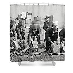 Prohibition Feds Destroy Liquor  1923 Shower Curtain by Daniel Hagerman