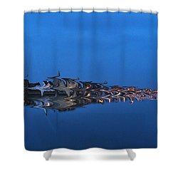 Promenade In Blue  Shower Curtain
