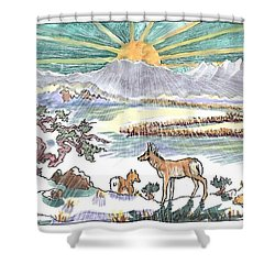 Pronghorn Winter Sunrise Shower Curtain by Dawn Senior-Trask