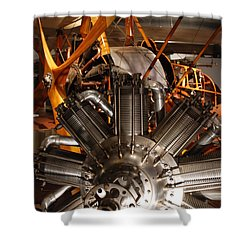 Prop Plane Engine Illuminated Shower Curtain