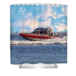 Protecting Our Waters - Coast Guard Shower Curtain by Kim Hojnacki