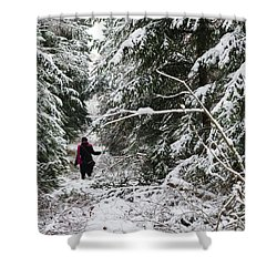 Protective Forest In Winter With Snow Covered Conifer Trees Shower Curtain by Matthias Hauser