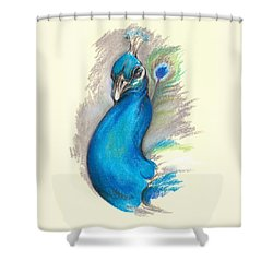 Shower Curtain featuring the pastel Proud Peacock by MM Anderson