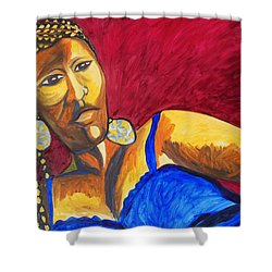 Shower Curtain featuring the painting Proud Sheruba Ethiopian Braids by Esther Newman-Cohen