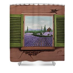 Shower Curtain featuring the painting Provence Lavander Fields Original Acrylic by Georgeta Blanaru
