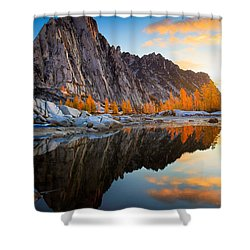 Prusik Reflection Shower Curtain by Inge Johnsson