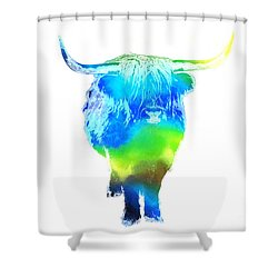 Psychedelic Bovine #2 Shower Curtain by Pixel  Chimp