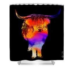 Psychedelic Bovine Shower Curtain by Pixel Chimp