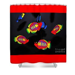 Psychedelic Flying Fish Shower Curtain by Kaye Menner