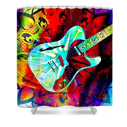 Psychedelic Guitar Shower Curtain by Ally  White
