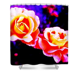 Psychedelic Roses Shower Curtain by Martin Howard