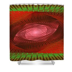 Psychedelic Spiral Vortex Green And Red Fractal Flame Shower Curtain by Keith Webber Jr