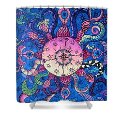 Psychedelic Squid Shower Curtain by Megan Walsh