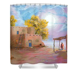 Pueblo De Las Lunas Shower Curtain by Jerry McElroy