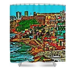 Old San Juan Puerto Rico Walled City Shower Curtain by Carol F Austin