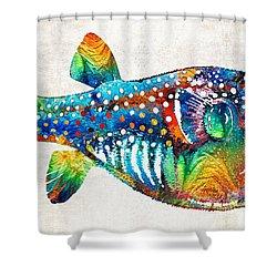 puffer fish art blow puff by sharon cummings shower curtain