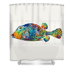 Puffer Fish Art - Puff Love - By Sharon Cummings Shower Curtain