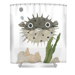 Blowfish Art Shower Curtain by Keiko Suzuki
