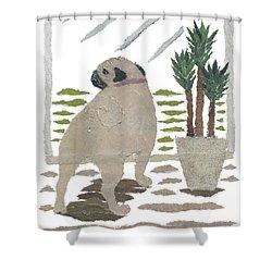 Pug Art Hand-torn Newspaper Collage Art Shower Curtain by Keiko Suzuki Bless Hue