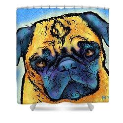 Pug Shower Curtain by Marlene Watson