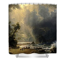 Shower Curtain featuring the painting Puget Sound On The Pacific Coast by Albert Bierstadt
