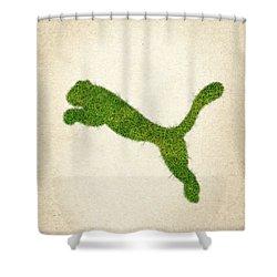 Puma Grass Logo Shower Curtain by Aged Pixel