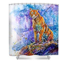 Puma. Listening To The Sounds Of The Mountains.  Shower Curtain by Zaira Dzhaubaeva