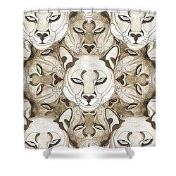 Shower Curtain featuring the mixed media Puma Spirits by Joseph J Stevens